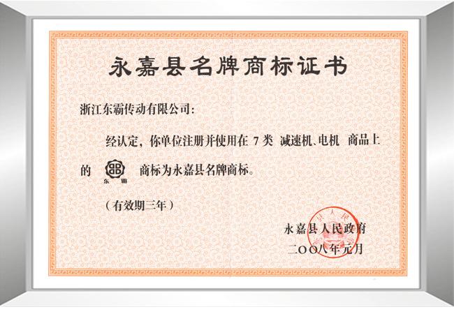 永嘉县名牌商标证书